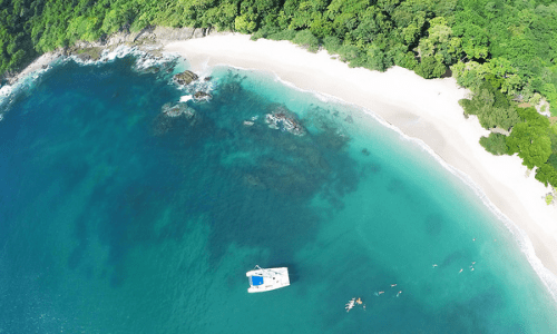drone view of private beach Playa Escameca